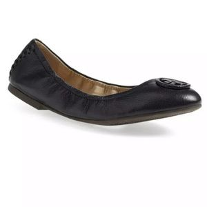 Tory Burch Allie Black Leather Flats Size 7.5